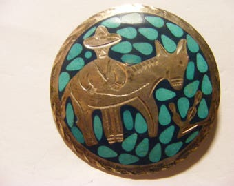 Mexico brooch sterling turquoise w/ man with donkey plata ster.