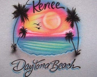 Airbrush Beach Scene Airbrushed t shirt Personalized With any wording.