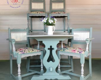 Six Seater Dining Table with 6 Chairs, Vintage, Shabby Chic, Duck Egg Blue and Paris Grey