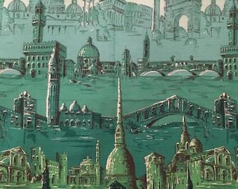 1950s Novelty Italy Border Print Fabric Blue