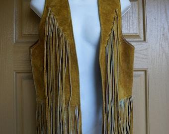 Vintage 1970s fringe suede leather vest medium 70s