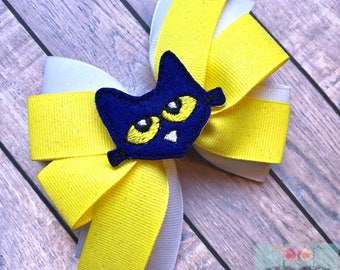 Pete The Cat Bow, Pete The Cat Hair Bow, Pete The Cat Bows, Reading Hair Bows, Book Bows, Reading Bows, Pete The Cat Party