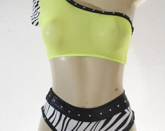 Exotic Dancewear Zebra print High waist 2 piece
