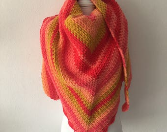 Crochet shawl ombre, red, orange and yellow