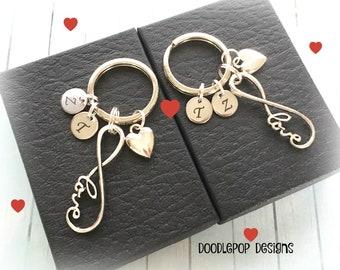 Personalised Engagement gift - Infinity keychains - Couple keyrings - Infinity Wedding gift - Couple keychains - Anniversary gift - UK gift