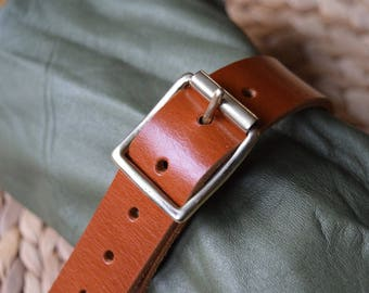 """Utility Strap Full Grain Leather 25mm (1"""") wide heavy duty brass buckle luggage surplus military multi-purpose camping tightening colour TAN"""