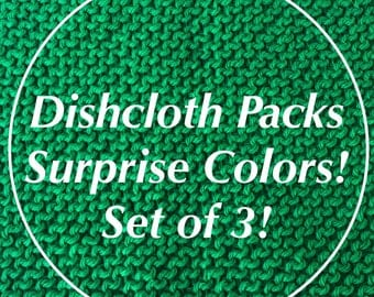 Set of 3 Dishcloths-Knit Dishcloths-Mystery Colors-Surprise Colors-Dishcloths-Dishcloth Set-Dishcloth Gift Set-Dishcloth Pack of 3
