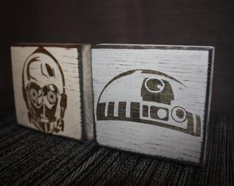 Peace, Love & C3PO or I <3 R2D2   Star Wars Desk/Shelf Decor Blocks   Star Wars Decor Sign / Droids