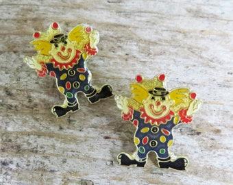 2 Vintage Clown Tack Pin- Tie Tack/Lapel Pin