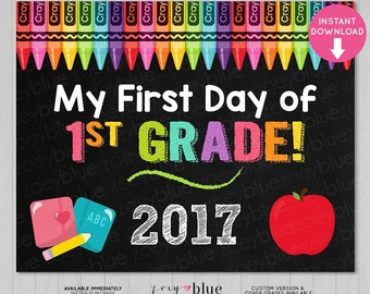 First Day of First Grade Sign - Girl 1st Grade First Day of School Chalkboard Sign - PreK Photo Prop - Instant Download - Printable Digital