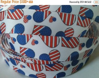 "ON SALE 7/8"" grosgrain ribbon   half heart print -  fourth of July ribbon supply"