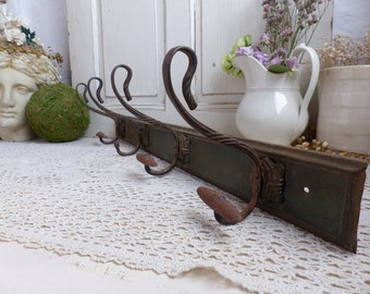 Antique french coat rack hat rack. 4 French vintage coat hooks. French bistro Art deco. Cottage coat hooks. Schoolhouse hooks. Rustic french