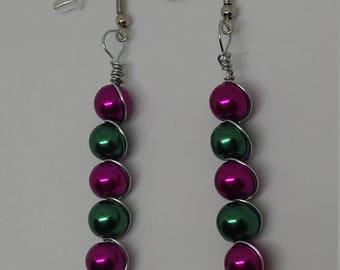 Fuschia and Green Wire Wrapped Earrings