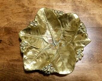 Vintage Virginia MetalCrafters Leaf, Brass Lemon Leaves Tray, 1953