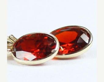 On Sale, 30%Off, Garnet CZ, 14K Gold Leverback Earrings, E001