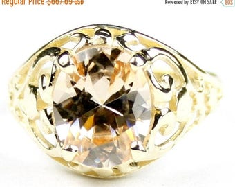 On Sale, 30% Off, Champagne CZ, 18KY Gold Ring, R004