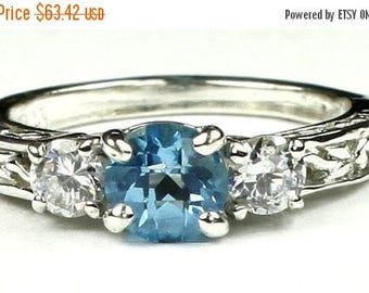 On Sale, 30% Off, Swiss Blue Topaz w/ Two 4mm CZ Accents, 925 Sterling Silver Engagement Ring, SR254