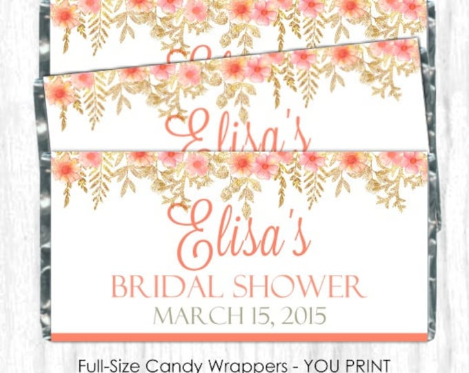 Printable Candy Wrappers, Peach Floral Gold Wedding Candy Wrappers, fit over chocolate bars, DIY Wedding, custom design, bridal shower