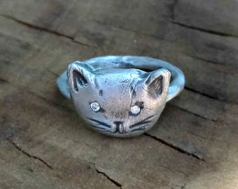 Diamond Cat ring, Rustic Silver and  diamond Kitty Ring ,  engagement ring, diamond statement ring,Diamond stackable ring,  birthstone ring