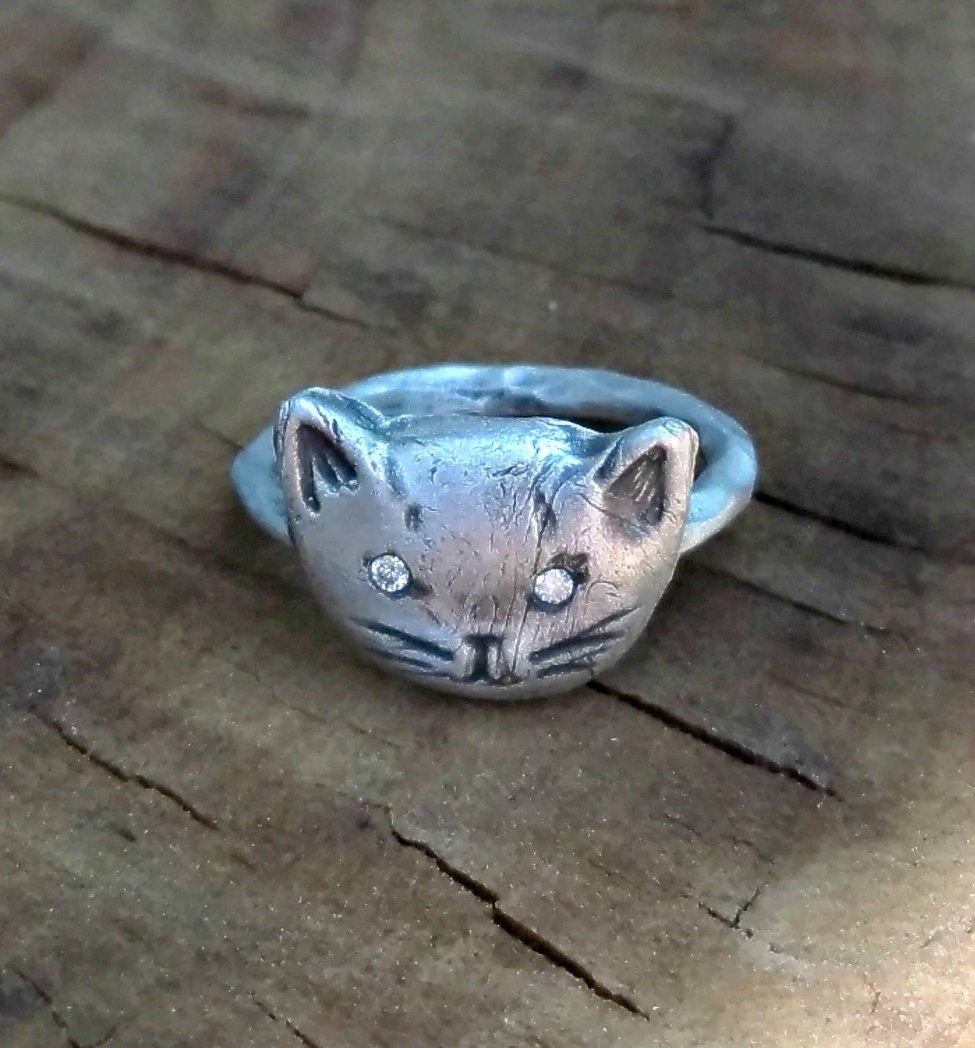 Diamond Cat ring Rustic Silver and diamond Kitty Ring