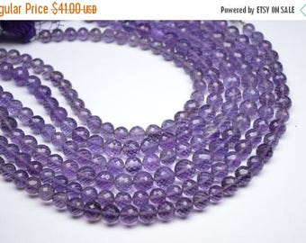 """40%DIS Earthmined 9""""-6-8MM-Beautiful Natural Deep African Amethyst MicroFaceted Round Beads 30 Beads"""