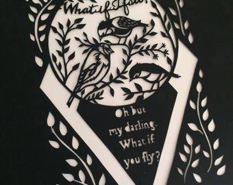 Erin Hanson quote bird papercut template download