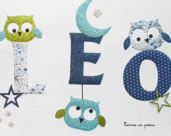 Applied fusible name boy owls theme liberty adelajda blue flex anise