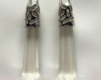 Clear Quartz Crystal Wands - Pendants, Necklace, Pendulum Includes Sterling Chain
