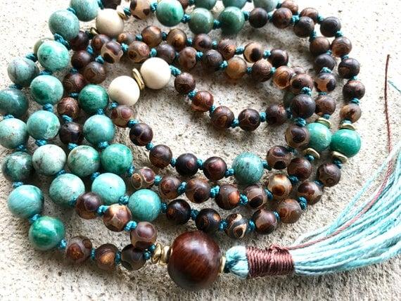 108 DZI Mala Beads, Knotted Mala Necklace, Peruvian Opal, Riverstone, Rosewood, Tassel Necklace, Meditation Yoga jewelry, Boho Jewelry