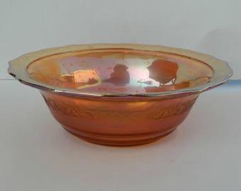 Normandie Pattern Serving Bowl Federal Glass Company Iridescent Bouquet & Lattice Marigold