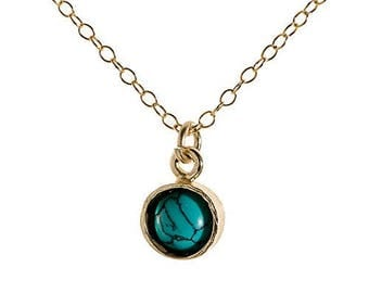 Custom Turquoise Necklace 6mm Turquoise Pendant 14k Gold Filled Chain
