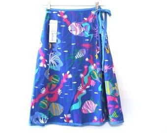 Vintage 80s skirt ocean pattern nwt new old stock sz M