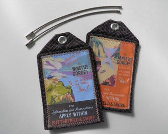 Custom luggage tags, Asia, set of 2, vintage art, travel posters, ID tags, travel accessory, retirement gift, travel gift