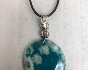 DBC: Blue Druzy Agate Pendant Necklace