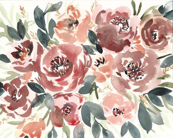 Original 8x10 Crimson Flower Watercolor Painting