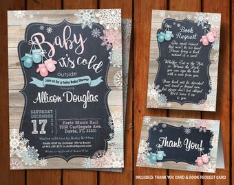 Baby its Cold Outside Invitations Premade Printable Digital Card Invite Winter Baby Shower Twins Baby Shower Mittens