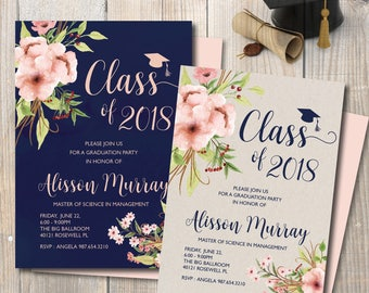 Graduation Invitation, Navy Blue Graduation Announcement, Watercolor Cream Flowers, Class of 2018