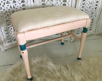 Shabby chic peach and teal chalk painted and reupholstered bench
