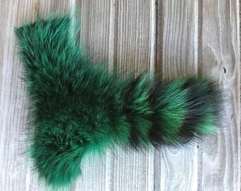 Green Dyed Raccoon Tail
