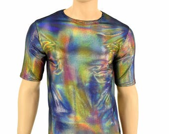 Mens Velvet Oil Spill Crew Neck Top with Short Sleeves Rave or Festival Shirt - 155044