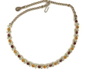 Vintage Orange Brown Rhinestone Necklace, Gold Tone Linked Choker
