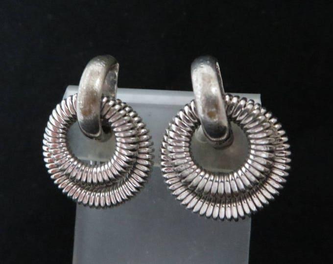 Vintage Bergere Hoop Earrings, Silver Tone Ridged Double Hoop Clip-on Earrings, Signed Designer Jewelry