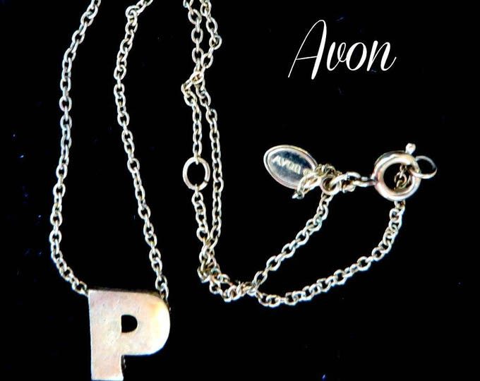 Avon Pendant Necklace - Vintage 1970s Initial Pendant, Letter P Necklace, Gift for Her, Gift Box, FREE SHIPPING
