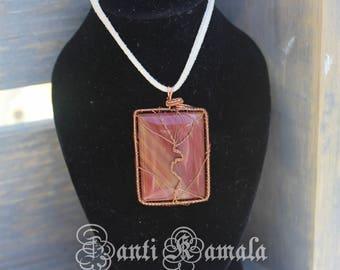 Jasper stone in copper tree of life necklace/jasper pendant/copper necklace/tree of life/tree o life necklace/art necklace/stone jewelry