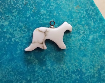 White Howlite Cougar Cabochon with Sterling Silver eyehook