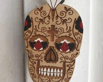 Day of the Dead! Wooden Carved Skull Calavera. Dia De Los Muertos Necklace. Calavera Necklace. Halloween Necklace.