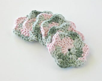 Drink Coasters- Facial Cleansing Pads- Crochet Face Scrubbies- Washcloth- Makeup Removers
