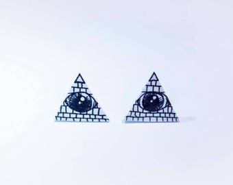 Eye Pyramid Illuminati Handmade Stud Earrings Shrink Plastic Halloween
