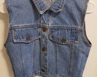 1990's Denim vest women's vintage vest size Medium