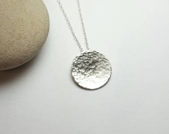 Full moon necklace / Tiny Silver hammered moon pendant  / Sterling silver pendant / Handforged Karmasilver UK / modern disc necklace